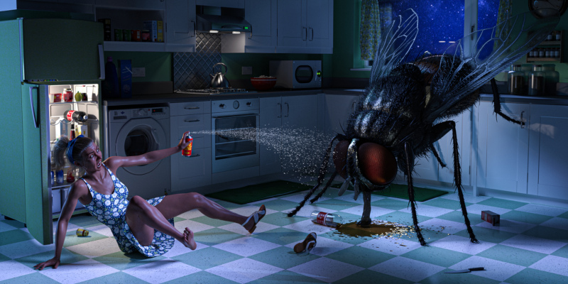 Digital image depicting a terrified woman spraying a giant fly with bug spray. The fly has knocked over a bottle of soda, and is busy drinking from the puddle. The woman wears a horrified expression, and is simultaneously spraying the giant fly with insecticide, while scrambling backwards to get away. The spray appears to be ineffectual. The scene takes place at night, in a moonlit kitchen.